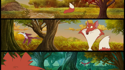 The Brave Chicken and The Stupid Fox - Composition Backgrounds