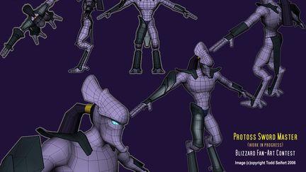 Protoss model - untextured w/ wires