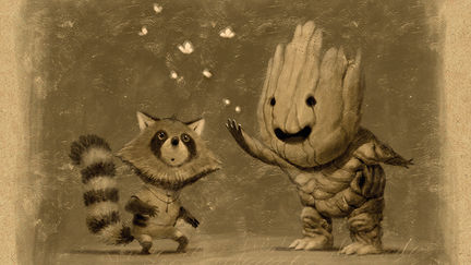 Baby Groot and Rocket