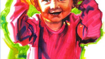 Child in marker.