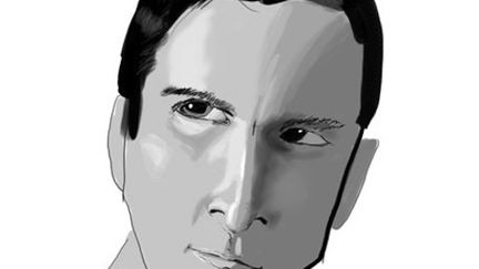 Black and white drawing of Christian Bale