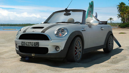 Mini Cooper S cabrio at paradise beach