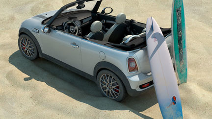 Mini Cooper S cabrio and surfboards