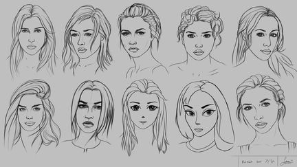 Drawing 10 Portraits using 10 Different Methods and Styles - sheet 7/30