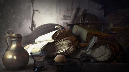 still life of books
