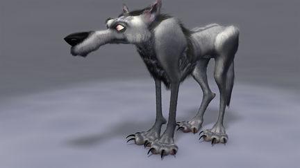 Cartoon wolf with hair