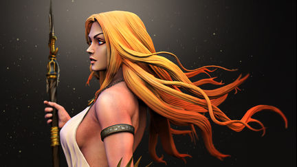 Athena Goddess of war and wisdom_painted