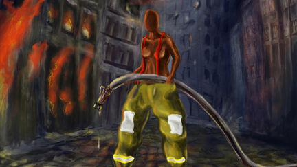Fire girl painting