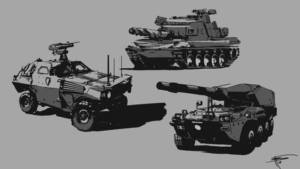 Military vehicles sketches