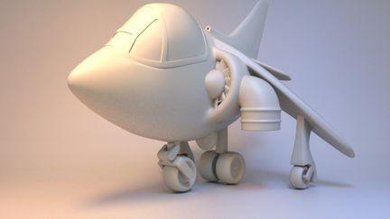 Cartoon Harrier Jump Jet for 3d Printing