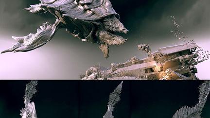 Alien Whale - clay render