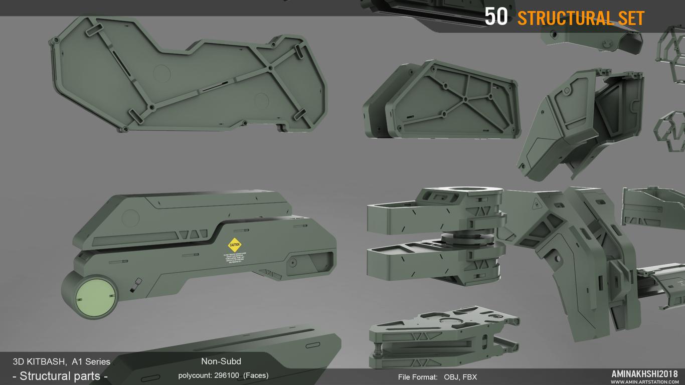 3D Kitbash - Structural parts
