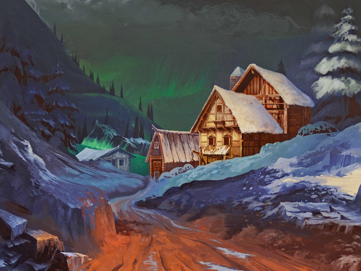 Landscape winter, rocks and snow