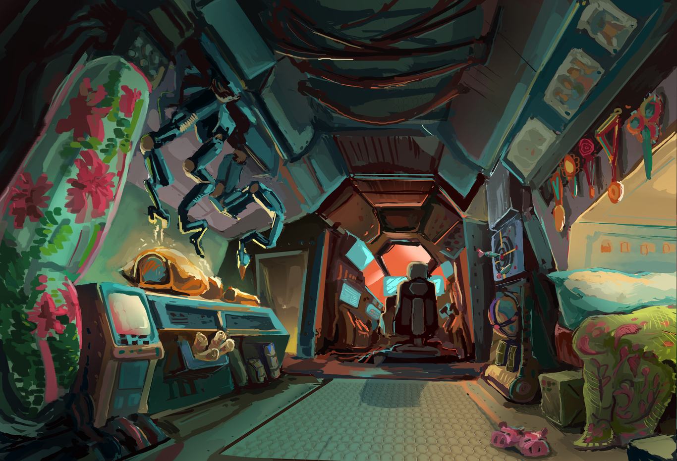 the interior of a spaceship