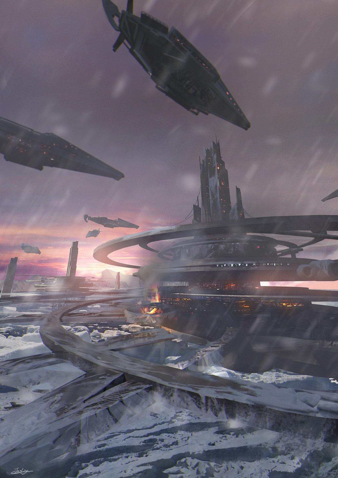 Science fiction scene in the snow