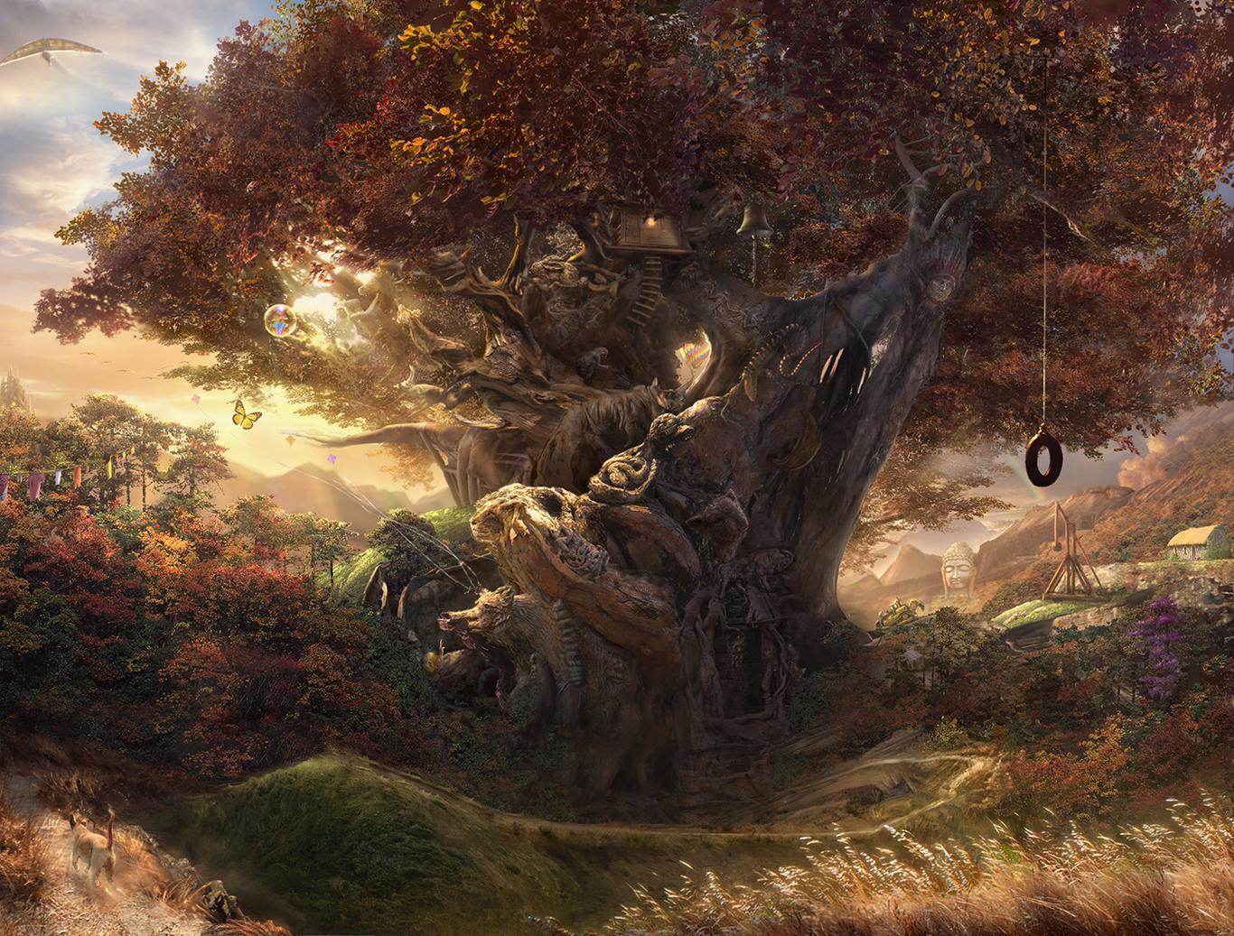 картинки деревья фэнтези приглядываться, новый фон