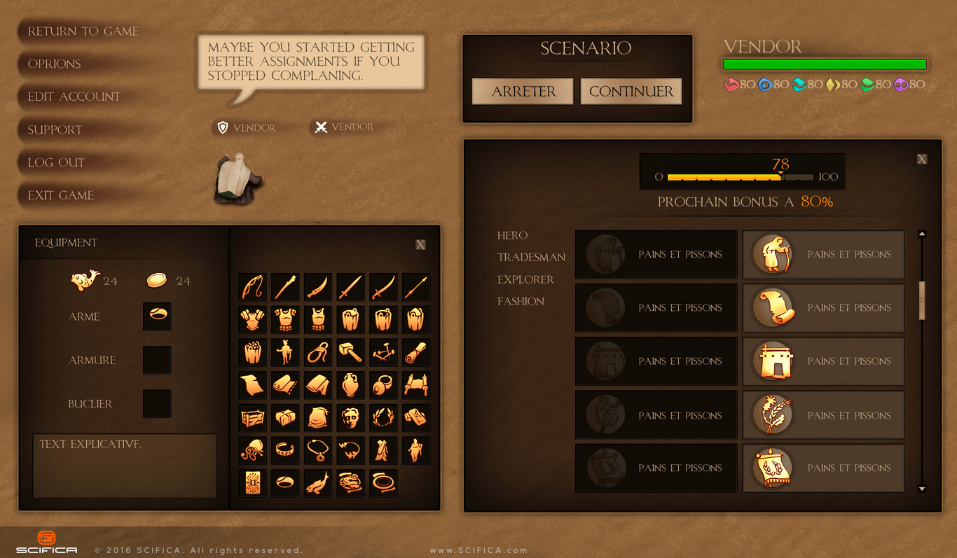 Video Game UI Design For PC Adventure Game By Scifica